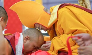 His Holiness the 17th Gyalwang Karmapa with His Holiness the Dalai Lama at the Kalachakra Empowerment, Bodhgaya Jan 2017.